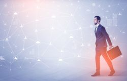 Man walking with online community wallpaper Royalty Free Stock Image