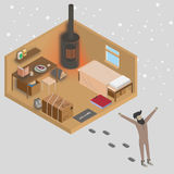 Man walking out from his house at morning. 3d isometric home interior vector illustration. Country house with heater and furniture Stock Image