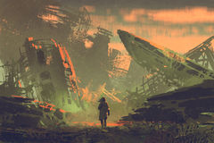 The man walking out from ruined planes. Scene of the man walking out from ruined planes at sunset with digital art style, illustration painting Stock Images