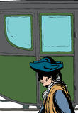 Man walking past fancy buggy. Side view of 18th century man in hat walking past fancy empty buggy Vector Illustration