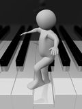 Man walking on the piano Royalty Free Stock Photos
