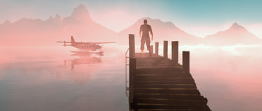 Man walking on pier at lake with floating airplane. Royalty Free Stock Photography