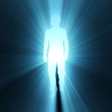 Man walking pose shadow light flare Royalty Free Stock Photo