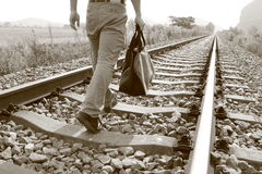 A man walking on the railway Royalty Free Stock Photography