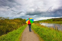A man walking in the rain Royalty Free Stock Images