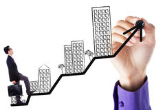Man walking on the residential business chart Stock Photo