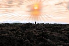 Man walking among rocks Royalty Free Stock Photos