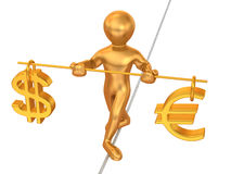 Man walking on a rope. Balance of dollar and euro. Stock Images