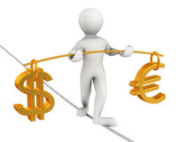 Man walking on a rope. Balance of dollar and euro. 3d Very beautiful three-dimensional illustration Royalty Free Stock Photo