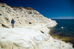 Man walking at the Scala dei Turchi Royalty Free Stock Photo