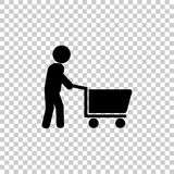 Man walking with shopping cart. Vector icon Stock Photography