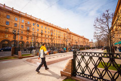Man walking on the sidewalk in Minsk, Belarus Royalty Free Stock Photos