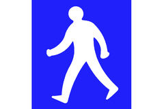 Man walking sign. A blue and white sign of a man walking Royalty Free Stock Photos