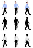 Man walking. Silhouettes and illustration - vector Royalty Free Stock Image