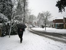 Man walking in snow Royalty Free Stock Image