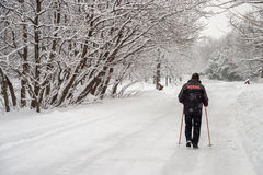 Man walking on snow Royalty Free Stock Images