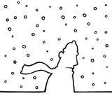 Man walking through snowy weather. Black line art illustration of a man walking through snowy weather Royalty Free Stock Photos