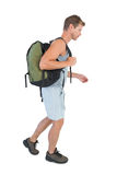 Man walking with sport bag Stock Images