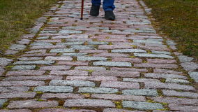 Man with walking stick Stock Photography