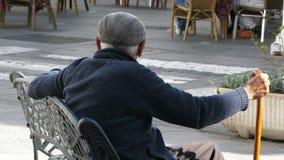 Man with walking stick in Mijas, Spain stock footage