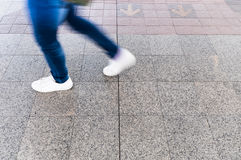 A man walking on the street, Motion blur Royalty Free Stock Photo