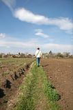 Man Walking Through Farm Field