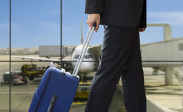 Man walking travel bag Stock Photos