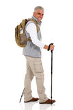 Man walking trekking poles Royalty Free Stock Photos