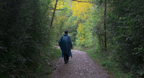 Man walking on the  Way of St. James. Stock Photo
