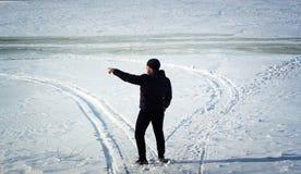 Man walking in winter Stock Image