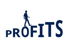 Man Walking on the Word `Profits` Stock Photos