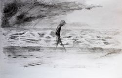 Man walks along the sea in storm and bad weather. Pencil drawing. Man walks along the sea in storm and bad weather. Pencil drawing vector illustration