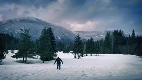 Man Walks Through Deep Snow In Frozen Landscape. Man in winter clothing walks through thick snow near trees with mountains in the background stock video