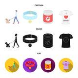A man walks with a dog, a collar with a medal, food, a T-shirt I love dog.Dog set collection icons in cartoon,black,flat. Style vector symbol stock illustration Royalty Free Stock Photography