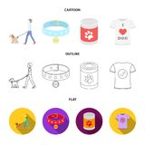 A man walks with a dog, a collar with a medal, food, a T-shirt I love dog.Dog set collection icons in cartoon,outline. Flat style vector symbol stock Stock Photo