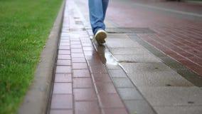 A man walks beside a lawn in the rain. Day stock video