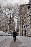 A man walks in  the snow, New York City Royalty Free Stock Images