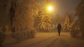 Man walks on snowy path in winter park at night stock video