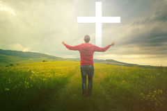 Man walks to the cross. Man waiting for a miracle Stock Photos
