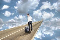 Man Walks to New Life Stock Photo