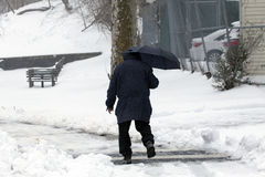 Man walks with umbrella during snow storm Royalty Free Stock Image