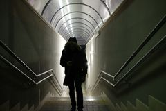 Man walks in the underpass. Station Stock Photo