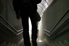 Man walks in the underpass. Station Royalty Free Stock Images