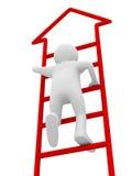 Man walks upstairs on white background Royalty Free Stock Image
