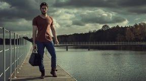 Man on walkway  Stock Photography