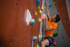 Man wall climbing in gym. Side view of man wall climbing in gym royalty free stock images