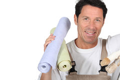 Man with wallpaper Royalty Free Stock Image