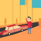 Man want to catch a taxi. Waiting for the car vector illustration