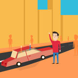 Man want to catch a transport. Greet friends Royalty Free Stock Photo