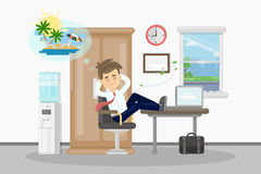 Man wants on vacation. Businessman at office drams of vacation at summer on the beach Royalty Free Stock Images